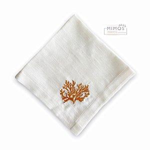 Guardanapo de Mesa - Linho Branco com Bordado Coral - Mimos Têxtil