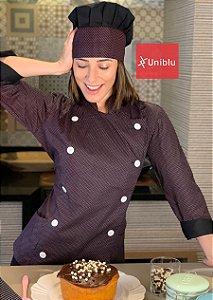 Camisa Feminina Chefe Cozinha - Dolman Stilus Poá Preto com Rosa - Uniblu