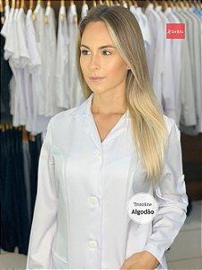 """Jaleco Feminino Slim - Gola Tradicional cor- Branco """" Tricoline Algodão """" Uniblu"""