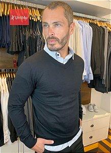 Suéter Masculino Decote V - Preto - Uniblu