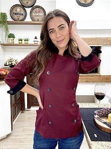 Camisa Feminina Chefe Cozinha - Dólman Stilus Bordô - Uniblu