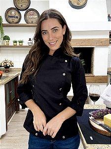 Camisa Feminina Chef Cozinha - Dolman Stilus - Gabardine Italiana - Preta Botões Pressão Cromados - Uniblu