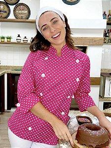 Camisa Feminina Chefe Cozinha - Dolman Stilus Pink Coroas - Uniblu