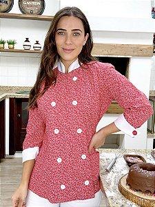 Camisa Feminina Chefe Cozinha - Dolman Stilus Floral vermelha - Uniblu