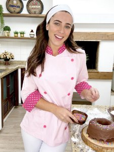Camisa Feminina Chefe Cozinha - Dolman Stilus Rosa Bebê com Detalhes em Coroa Pink - Uniblu