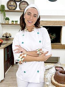 Camisa Feminina Chefe Cozinha - Dolman Stilus Branca com Detalhes em  Abacaxi - Uniblu