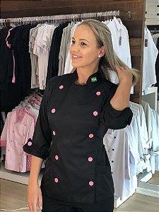 Camisa Feminina Chefe Cozinha - Dolman Stilus - Preta Com Botões Rosa Claro - Uniblu