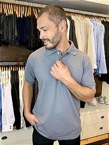 Camisa Polo Masculina Cinza Chumbo - Uniblu