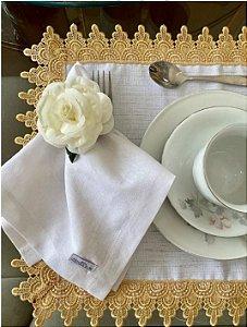 Guardanapo de Mesa - Linho Branco  - Mimos Têxtil