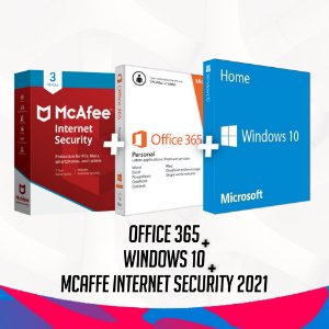 McAfee Security 2021 + Office 365 + Windows 10 Pro - 32/64 Bits - Licença Vitalícia + Nota Fiscal