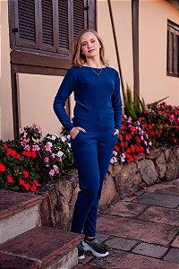 Conjunto calça lisa/blusa modal