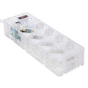 Protetor DPS iCLAMPER Energia 8 tomadas+USB (Transparente)
