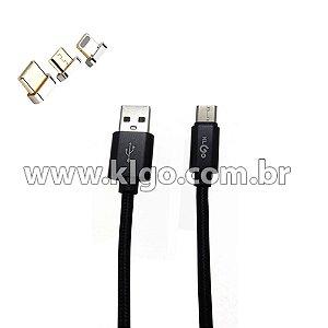 Cabo USB KLGO S51 Android Micro USB V8 para Dados e Carregamento