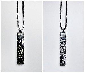 Pingente pequeno estilo clássico com folha de ouro e folha de prata