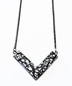 Pingente com folhas de prata glamour