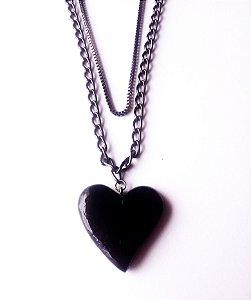 Colar corrente dupla de coração