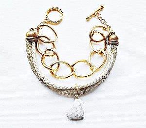 Pulseira dourada glamour