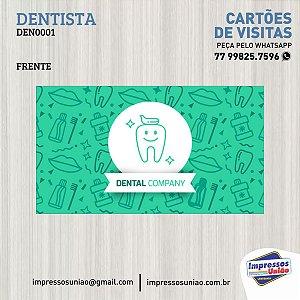 CARTÃO DE VISITAS PARA DENTISTA - DENT001 C/ VERNIZ LOCALIZADO