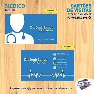 CARTÃO DE VISITAS PARA MÉDICO - MED02 - FOSCO COM VERNIZ LOCALIZADO