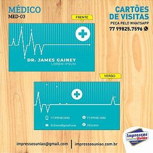 CARTÃO DE VISITAS PARA MÉDICO - MED03 - FOSCO COM VERNIZ LOCALIZADO