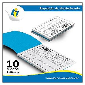 Requisição - Tamanho 210x110 mm - 1x0 cor - 2 vias - Autocopiativo 10 blocos