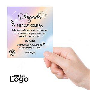 Cartões De Agradecimento Personalizado 500un couchê250g