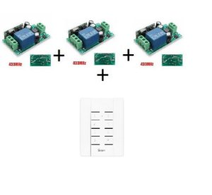 Kit 3 Interruptores 1 Canal RF+Painel RF 8 Botões 433 Sonoff