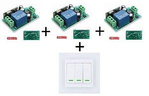 Kit 03 Interruptores 1 Canais Sem Fio RF 433 MHZ (85v~220v) + Painel RF 3 Botões 433Mhz