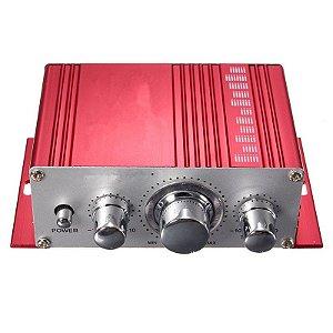 Amplificador P Carro 20w+20w Super Bass Estéreo Vermelho