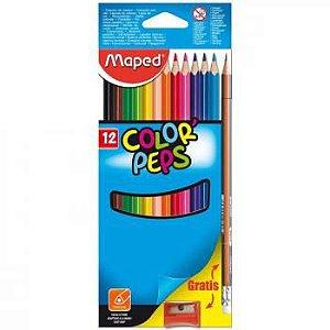 Lápis de Cor Triangular Color Peps + Apontador + Lapis Grafite Caixa x 12 - Maped