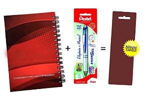 Kit Agenda Espiral 2019 Para Canhotos (modelo 1) + Caneta Energel SM/BL77 (0.7mm) Azul + Caneta Pentel de brinde