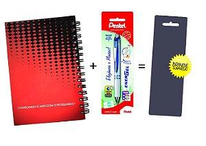 Kit Agenda Espiral 2019 Para Canhotos (modelo 2) + Caneta Energel SM/BL77 (0.7mm) Azul + Caneta Pentel de brinde