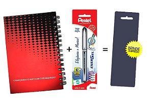 Kit Agenda Espiral 2019 Para Canhotos (modelo 2) + Caneta Energel SM/BL27 (0.7mm) Preta + Caneta Pentel de brinde