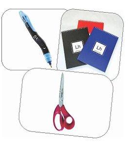 Kit 2 (caderno, tesoura e caneta azul)