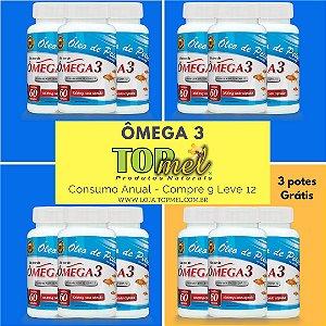 Ômega 3 - 60 Cápsulas - Compre 9 & Leve 12 potes - Consumo Anual