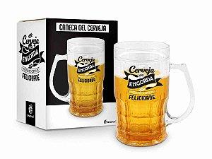 Caneca Gel Cerveja 450ml Brasfoot - Cerveja Não Engorda