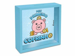 Quadro Cofre Brasfoot Economia Kids - Primeiro Cofrinho Azul