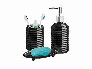 Conjunto p/ Banheiro de Vidro 3Pçs Hauskraft