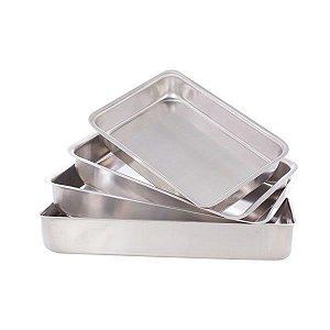 Conjunto Assadeiras Com 4 Fôrmas Retangulares - 398 - Aluminio Laredu