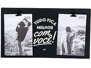 PORTA RETRATO UATT P/2 FOTOS 10X15 TUDO FICA MELHOR COM VOCÊ