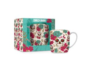CANECA PORCELANA 360ML URBAN BRASFOOT CAVEIRA FLOWERS