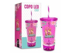 COPO LED 500ML BRASFOOT C/ CANUDO 15 ANOS