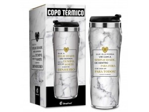 COPO TÉRMICO 450ML BRASFOOT REF.2869 MÁRMORE