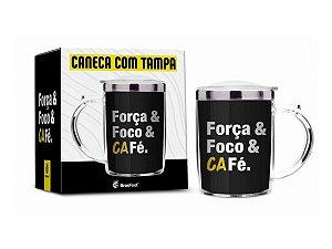 CANECA COM TAMPA 350ML BRASFOOT FOCO FORÇA E CAFÉ