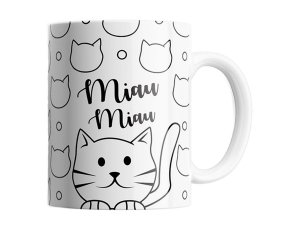 CANECA DECORADA PORCELANA 330ML SUDE MIAU MIAU