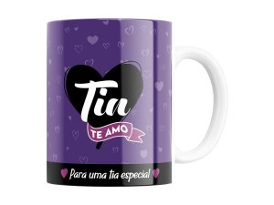 CANECA DECORADA PORCELANA 330ML SUDE TIA TE AMO