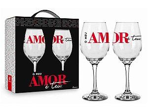 Taça de Vinho de Vidro 385ml c/ 2un Brasfoot