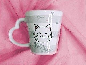 Caneca Porcelana 330ml c/ Alça Coração Sude Miau Miau