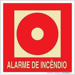 Placa Sinalização de Emergência - Fotoluminescente - Alarme de Incêncio