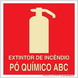 Placa Sinalização de Emergência - Fotoluminescente - Extintor de incêndio pó quimico ABC